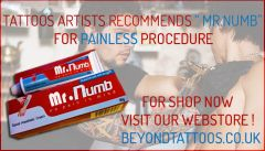 Tattoo artist recommends Mr Numb for painless procedure