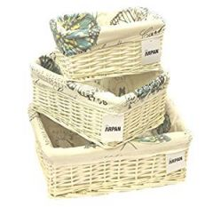Rectangular White Willow Wicker Storage Baskets
