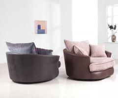 Cuddler Swivel Fabric Chair