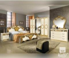 Sara Cream And Golden Italian Bedroom Set 06