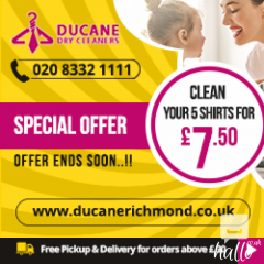 5 Shirts Cleaning 7.50 Pounds -Ducane Dry Cleaners