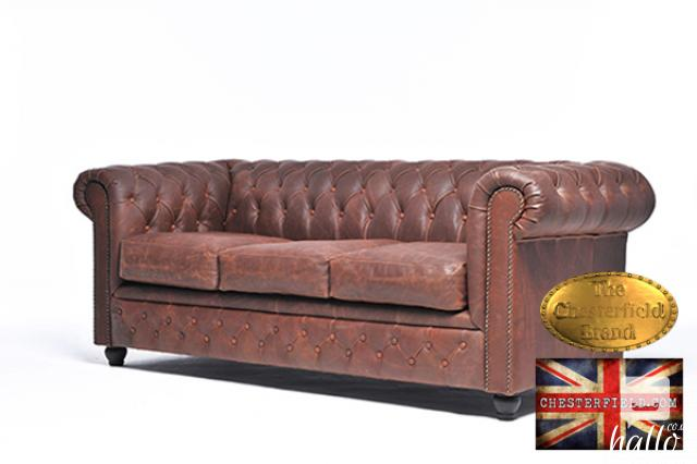 Original Chesterfield Sofa Vintage Brown Leather Edinburgh City of Edinburgh Hallo