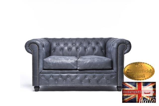 Original Chesterfield Vintage Black Leather Sofa Edinburgh City of Edinburgh Hallo