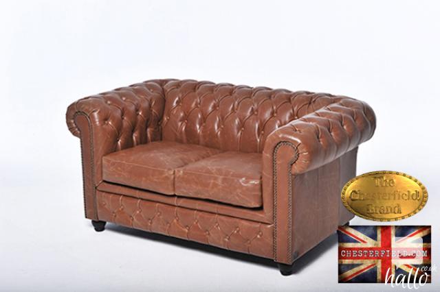 Original Chesterfield Vintage Mocca Leather Sofa Edinburgh City of Edinburgh Hallo