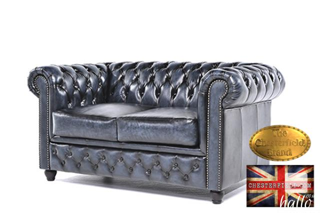 Original Chesterfield Antique Blue Leather Sofa 2 seat Edinburgh City of Edinburgh Hallo