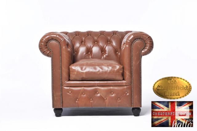 Original Chesterfield Vintage Mocha Leather Armchair Edinburgh City of Edinburgh Hallo