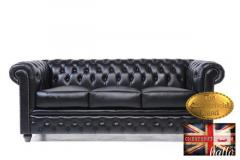 Original Chesterfield Brand Black Sofa-Real Leat