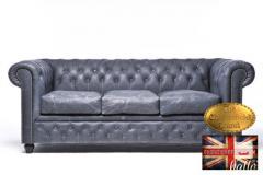 Original Chesterfield Sofa Vintage Black Leather