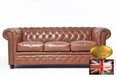 Original Chesterfield Sofa Vintage Mocca Leather