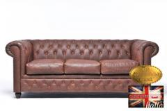 Original  Chesterfield Sofa Vintage Brown Leathe