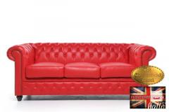 Original Chesterfield Sofa-Classic Red Leather -