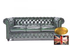 Original Chesterfield Wash-Off Green Leather Sof