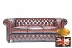 Original Chesterfield Antique Brown Leather Sofa