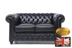 Original Chesterfield Classic Black Leather-2 seat-Sofa