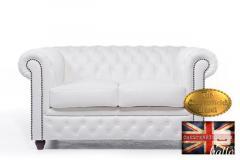 Original Chesterfield White Leather 2 seats Sofa