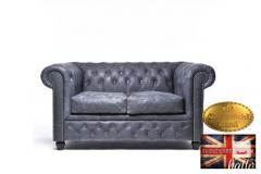 Original Chesterfield Vintage Black  Leather Sofa