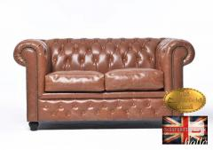 Original Chesterfield Vintage  Mocca Leather Sofa