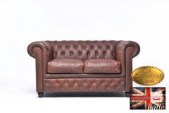 Original Chesterfield Vintage brown 2 seater sofa