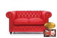 Original Chesterfield Brand Red Sofa-Real leather