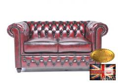 Original Chestefield Sofa Wash-off red Leather-2 seat
