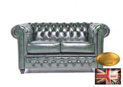 Original  Chesterfield Sofa Wash-off Green  Leather