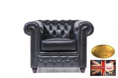 Original Chesterfield Armchair Classic Black Leather