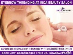 Eyebrow threading service at INOA Beauty salon