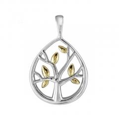 Sterling Silver Two Tone Tree of Life Pendant