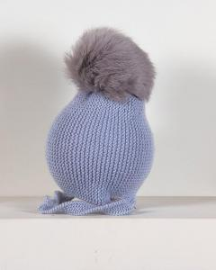 BUY CASILDA JIMENA BLUE KNITTED MERINO WOOL POMPOM HAT