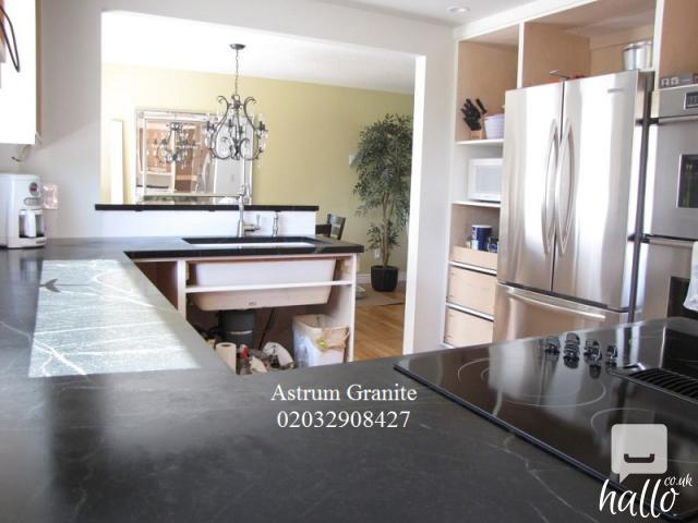 Buy Absolute Black Flamed Granite Kitchen Worktop in UK 3 Image