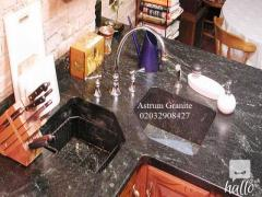 Buy Absolute Black Flamed Granite Kitchen Worktop in UK