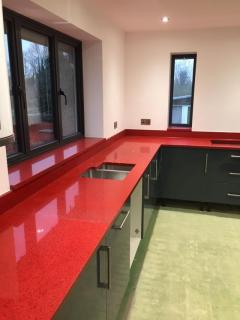 Deal the Red Starlight Quartz Kitchen Worktops London