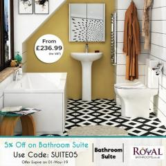 Discount on Modern Bathroom Suites by RoyalBathrooms