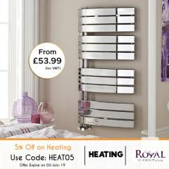 5 Percent Off on All Kind of Heated Towel Rails