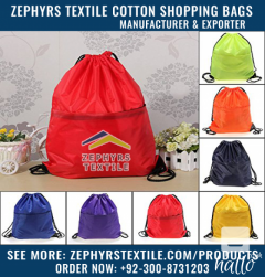 Zephyrs Textile is Supplying Drawstring Gym Bags