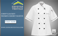 Zephyrs Textile  Women Short Sleeve Chefs Jacket