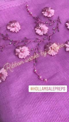 Love Ribbon Work Pink Embroidery Saree