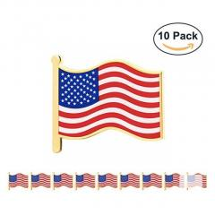 GS-JJ 10 Pcs 1 American Flag Pins Bulk