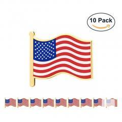 Gs-Jj 10 Pcs 1 American Flag Pins Bulk